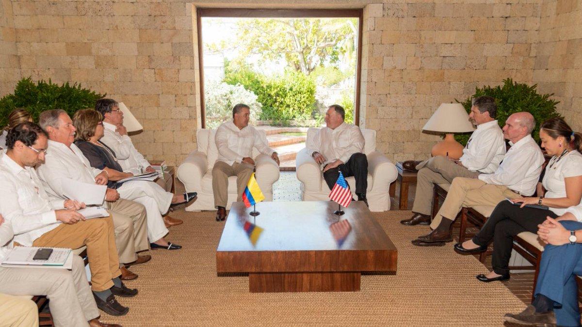 Ivan Duque se reunió con el secretario de Estado de Estados Unidos, Mike Pompeo, en Cartagena | EL FRENTE