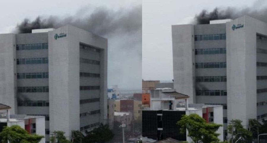 Evacuación de una clínica en Barranquilla que estaba en llamas fue por las ventanas | EL FRENTE