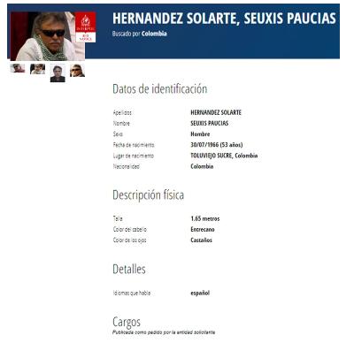 Interpol incluyó a Jesús Santrich en su lista roja de los más buscados   Colombia   EL FRENTE