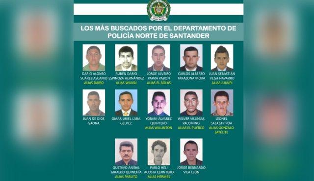 Ofrecen recompensa por los 13 criminales más buscados en Norte de Santander | EL FRENTE