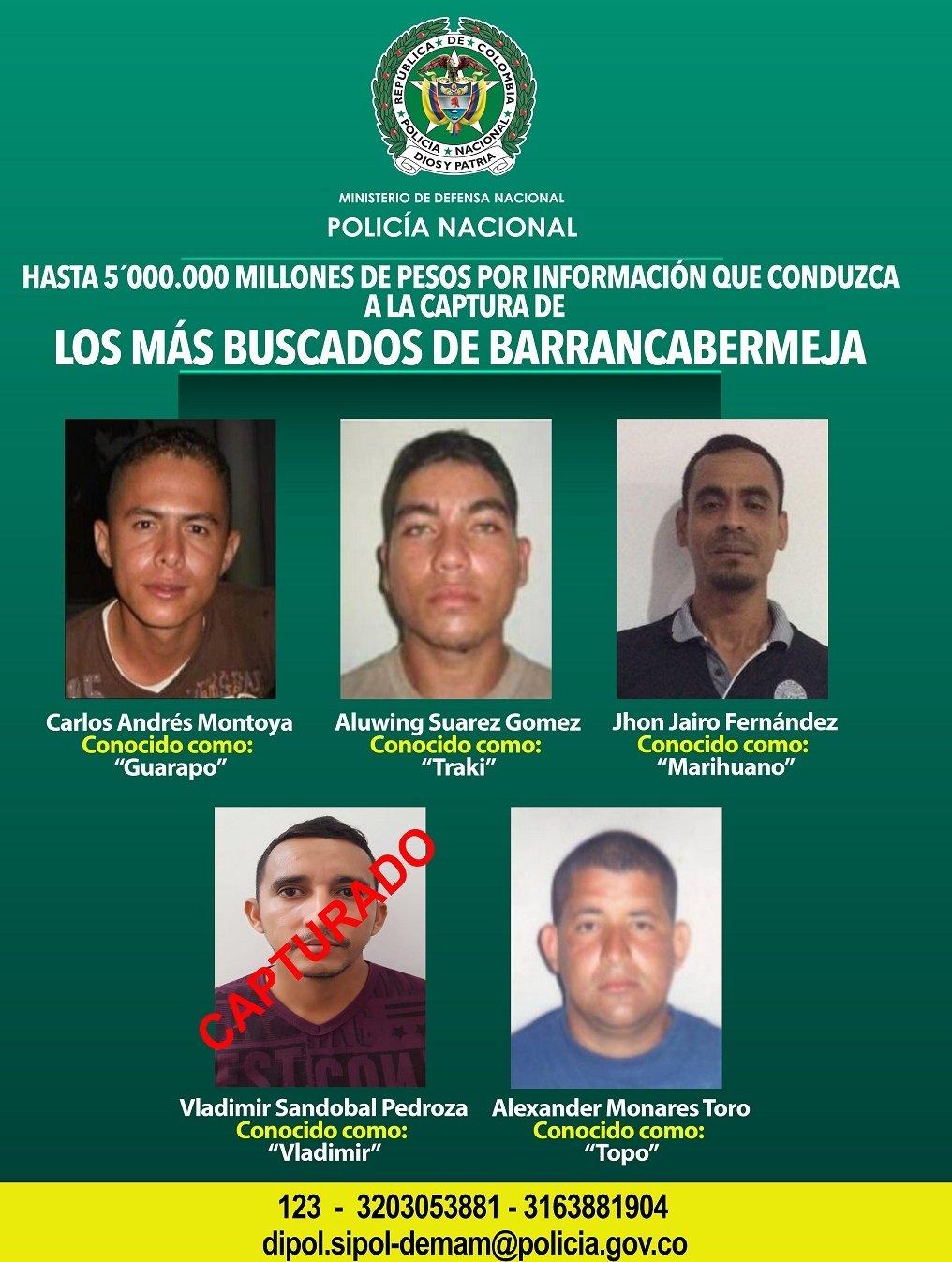Ofrecen recompensa por delincuentes más buscados de Barrancabermeja   EL FRENTE