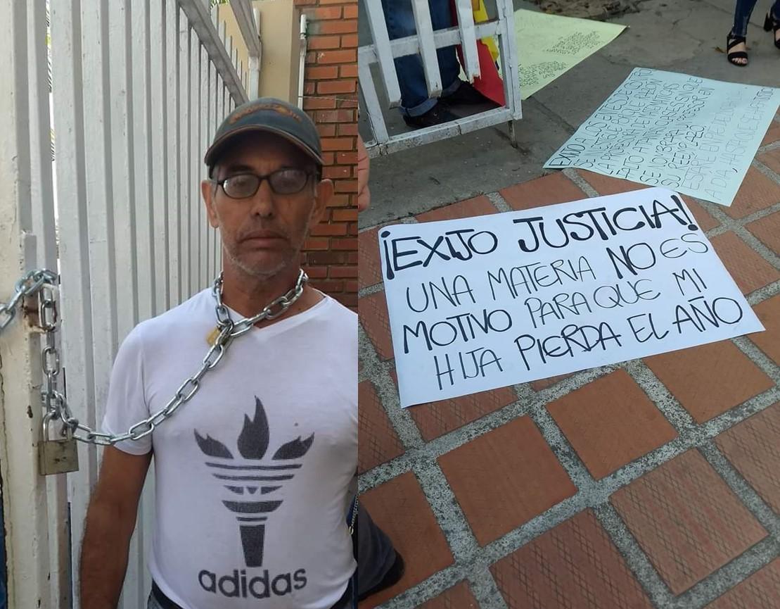 Su hija perdió el año por 1 materia y se encadenó para pedir justicia | EL FRENTE