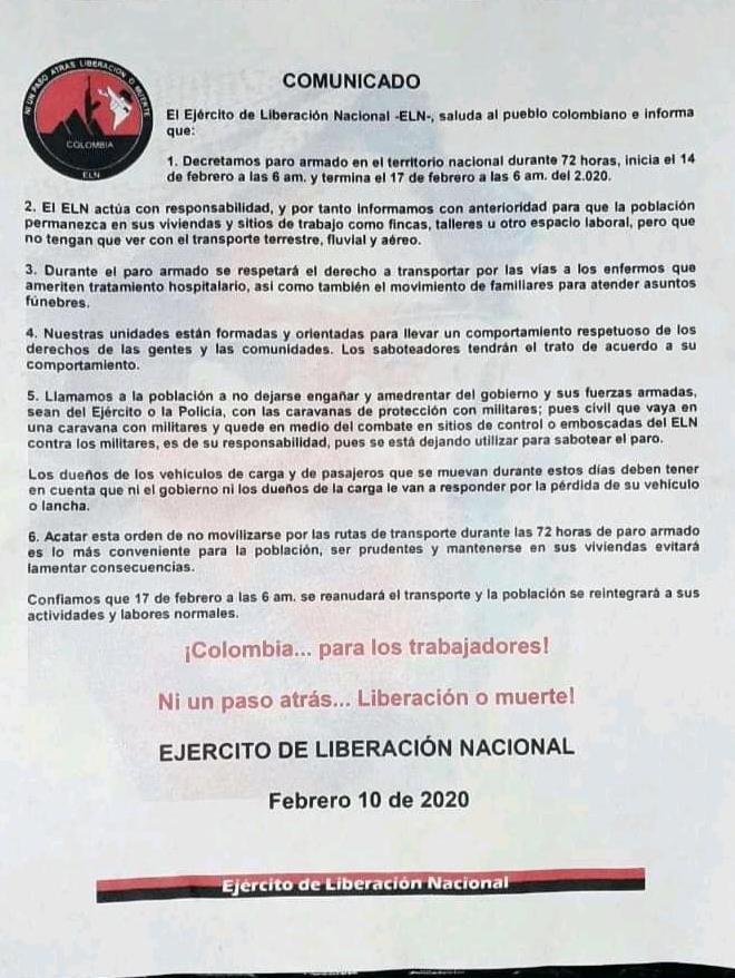Eln anuncia paro armado de 72 horas   EL FRENTE