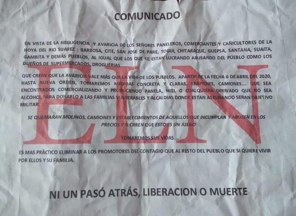 Mediante panfleto del Eln amenazan a paneleros de la Hoya de Río Suárez | Justicia | EL FRENTE