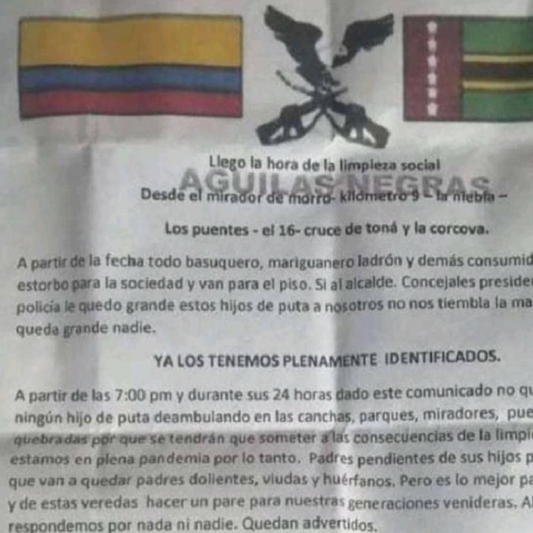 Mediante panfleto de las Águilas Negras amenazan a consumidores de droga | EL FRENTE