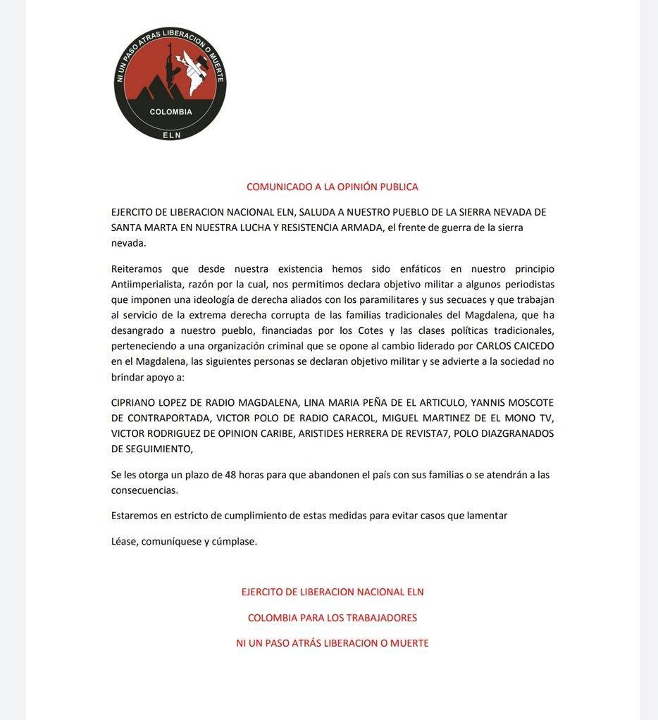 Periodistas fueron declarados objetivo militar del ELN | Nacionales | Colombia | EL FRENTE