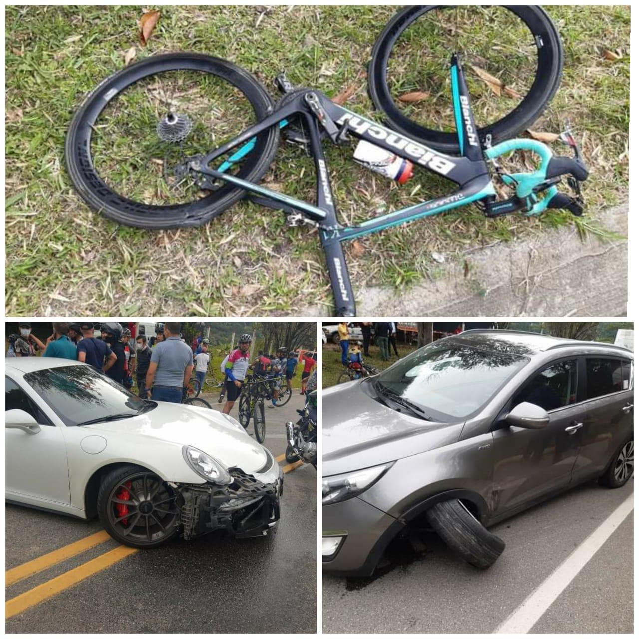 Ciclista resultó herido tras múltiple choque de vehículos en Barbosa, Santander | EL FRENTE