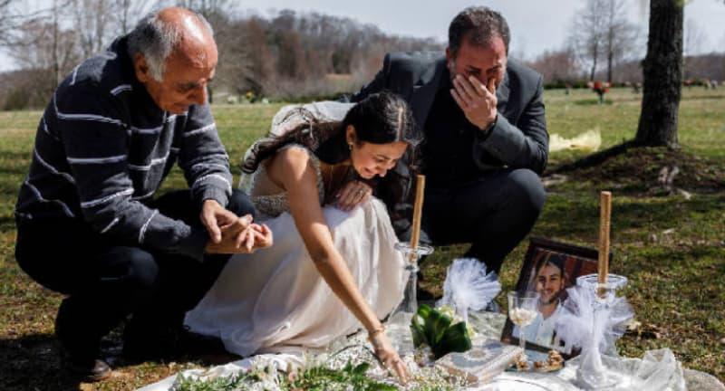Vestida de novia visitó tumba de su prometido asesinado días antes de la boda   EL FRENTE