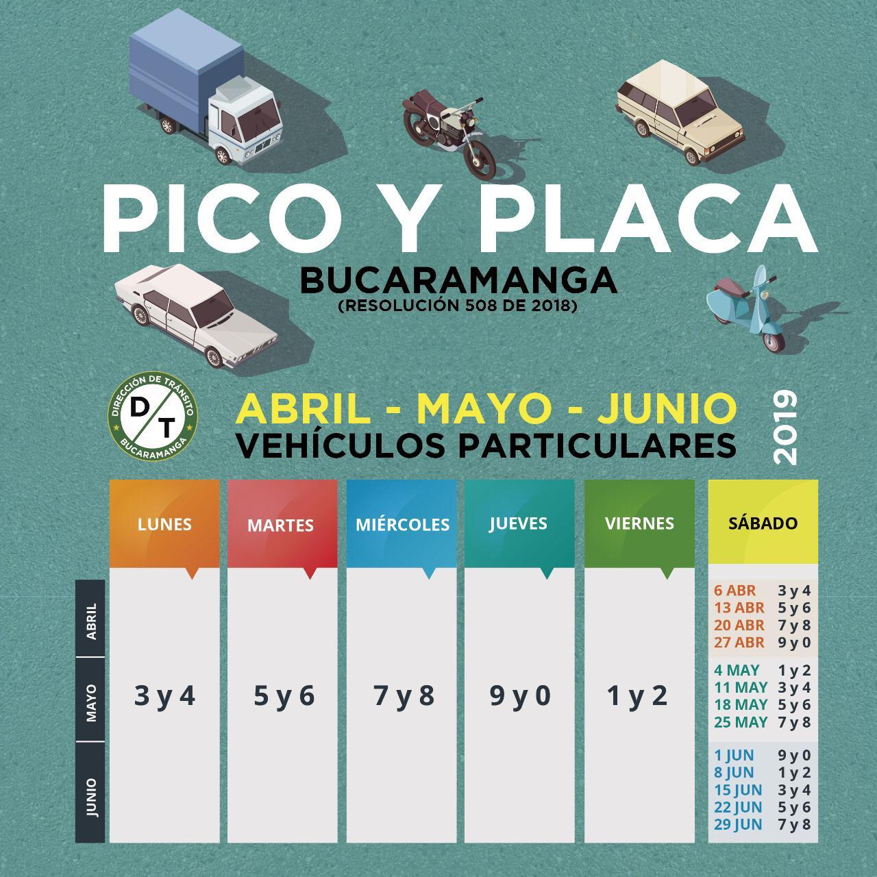 El lunes 1 de abril rotará el pico y placa en Bucaramanga | Metro | EL FRENTE